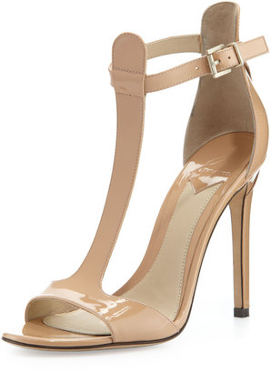 Brian Atwood Leigha Patent T-Strap Sandal, Natural