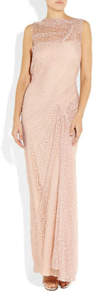 Nina Ricci Draped floral-lace gown