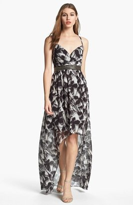 Max & Cleo Embellished Print High/Low Gown