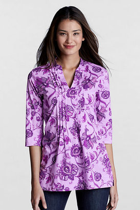 Lands' End Women's Regular 3/4-sleeve Pattern Cotton Voile Popover Tunic