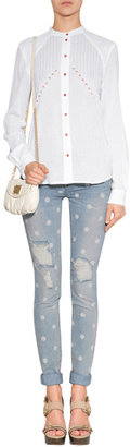 Marc by Marc Jacobs Light Blue Lily Dot Slim Destroyed Jeans