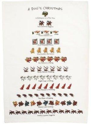 """Sur La Table """"A Dog's Christmas"""" Floursack Towel"""