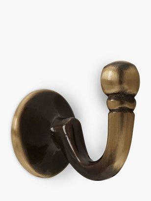 John Lewis & Partners Regency Tieback Hooks, Pair, Antique Brass