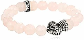 King Baby Studio 10mm Rose Quarz Bead Bracelet with Day of the Dead Crowned Heart