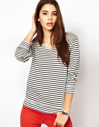 Only Stripe Slash Neck Long Sleeve Top