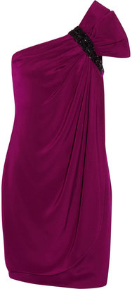 Notte by Marchesa Embellished one-shoulder silk dress