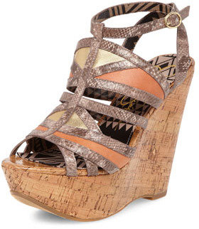 Jessica Simpson Snake leather strappy wedge sandals