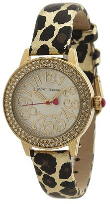 Betsey Johnson BJ00251-01 Analog Metallic Leopard Printed Strap Watch (Leopard) - Jewelry