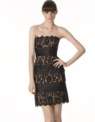 BCBGMAXAZRIA Centurian Strapless Lace Satin Shutter Cocktail Dress
