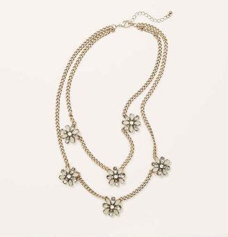 LOFT Short White Floral Necklace
