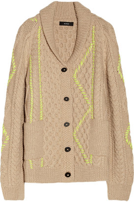 Suno Oversized cable-knit alpaca and wool-blend cardigan