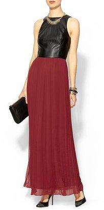 Juicy Couture Sabine Vegan Leather Chiffon Maxi Dress
