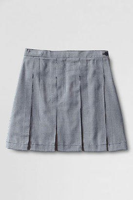 Lands' End School Uniform Girls' Plaid At-the-knee Box Pleat Skirt