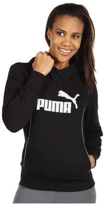 Puma Fleece Pullover Hoodie (Black/White) - Apparel