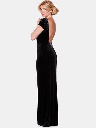 Holly Willoughby Backless Velvet Maxi Dress