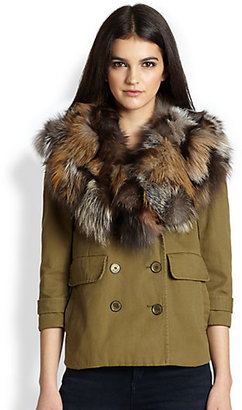 Gryphon Shrunken Fox Fur-Collar Peacoat