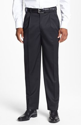 Men's Jb Britches Pleated Super 100S Worsted Wool Trousers $155 thestylecure.com