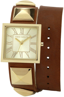 Vince Camuto Watch, Women's Brown Pony Hair Leather Double Wrap Strap 27mm VC-5028CHBN