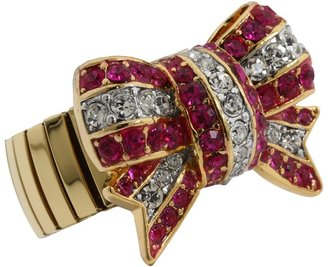Juicy Couture Starlet Escape Stretch Pave Bow Ring (Pink) - Jewelry