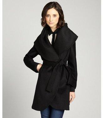T Tahari black wool blend 'Marla' wide shawl belted coat