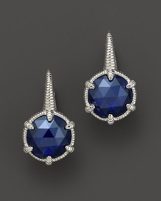 Judith Ripka Sterling Silver Small Eclipse Earrings with Lab-Created Blue Corundum