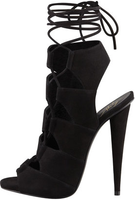 Giuseppe Zanotti Suede Side-Lace Ankle-Tie Sandal