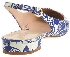 J.Crew Lucie printed leather slingback flats