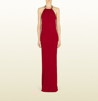 Gucci Long Raspberry Dress With Horsebit Halter