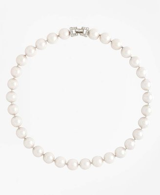 """17"""" 12mm Glass Pearl Necklace with Deco Clasp $298 thestylecure.com"""