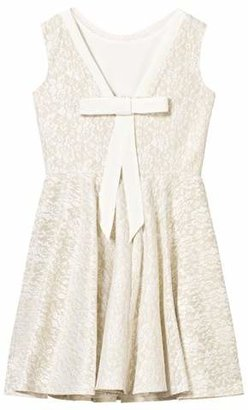 David Charles Gold and Ivory Techno Lace Dress
