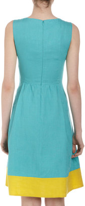 Lafayette 148 New York Studio 148 by Fit-and-Flare Contrast-Border Dress, Fiji/Sunshine