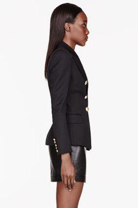 Balmain Black Double-breasted classic Blazer