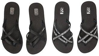 Teva Mandalyn Wedge Ola 2-Pack (Black/Fleur Black) Women's Sandals
