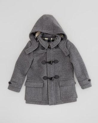 Burberry Boys' Wool Duffle Coat, Mid-Gray Melange
