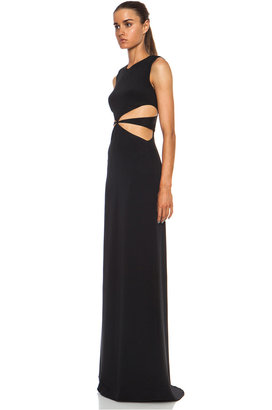 Cushnie et Ochs Silk Crepe Maxi Dress with Side Cutouts in Black