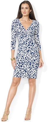Lauren Ralph Lauren Three-Quarter-Sleeve Floral-Print Faux-Wrap Dress