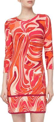 Ali Ro Three-Quarter Paintbrush-Print Stretch-Knit Dress, Bright Coral Multi