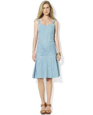 Lauren Ralph Lauren Dress, Sleeveless Sweetheart-Neck Denim