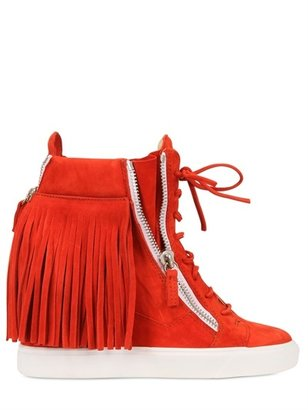 Giuseppe Zanotti 90mm Suede Fringed Sneakers Wedges