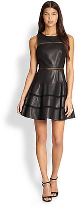 Tibi Ladder Stitch Leather Dress