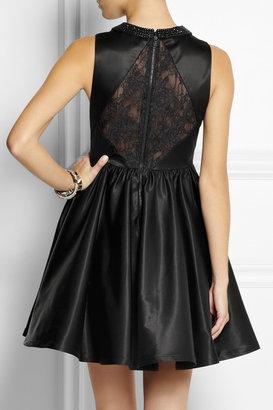 Alice + Olivia Lollie embellished satin and lace dress