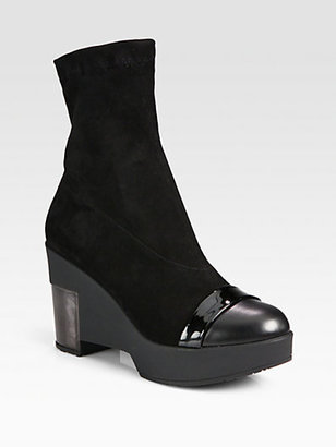 Robert Clergerie Mixed Media Wedge Ankle Boots
