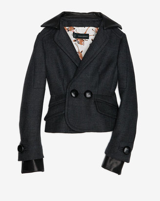 DSquared Dsquared2 Leather Detail Wool Coat