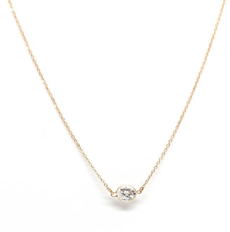 Rachael Ryen - 14k Gold White Topaz Solitaire Necklace