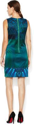 Elie Tahari Ginny Silk Charmeuse Combo Dress
