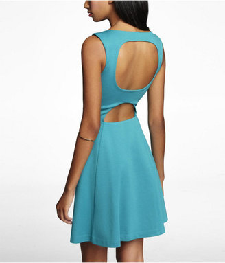 Express Open Back Ponte Knit Fit And Flare Dress