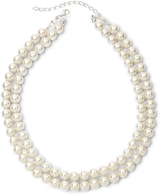 Vieste Silver-Tone Pearlized Glass Bead 2-Row Necklace $22 thestylecure.com