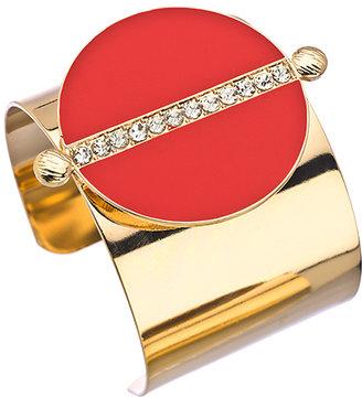 Blu Bijoux Gold Red and Crystal Wide Cuff Bracelet