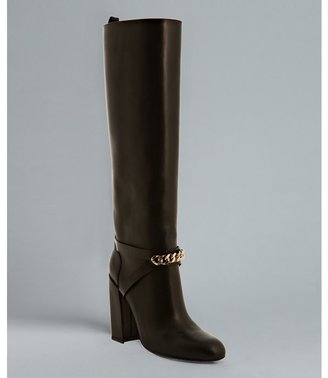 Yves Saint Laurent black leather 'New Chyc 105' chain link boots