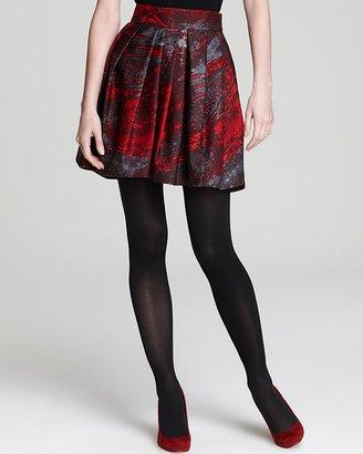 Halston Printed Silk Bell Skirt